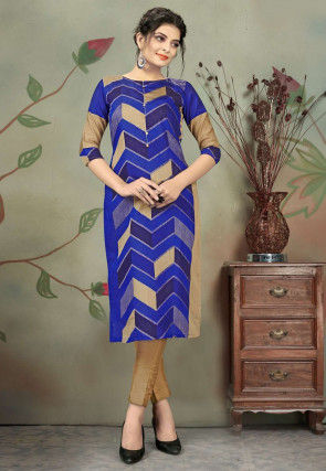Printed Chanderi Cotton Kurta with Pant in Blue and Beige
