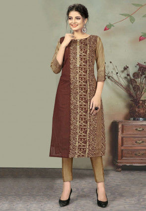 Printed Chanderi Cotton Kurta with Pant in Brown and Beige