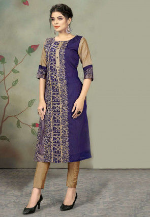 Printed Chanderi Cotton Kurta with Pant in Purple