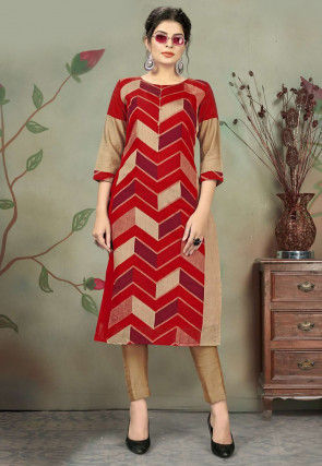 Printed Chanderi Cotton Kurta with Pant in Red and Beige