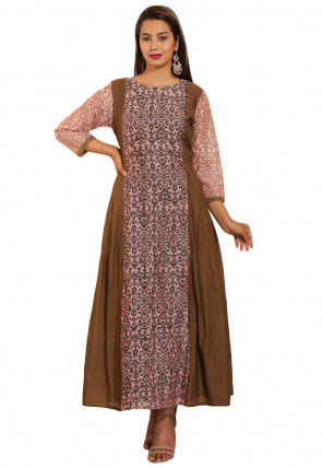 Printed Chanderi Cotton Long Pleated Kurta in Peach and Brown