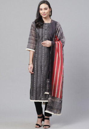 Printed Chanderi Cotton Pakistani Suit in Grey
