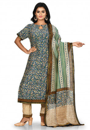 Printed Chanderi Cotton Pakistani Suit in Teal Blue