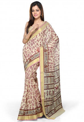 Printed Chanderi Cotton Saree in Beige