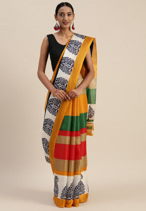 Printed Chanderi Cotton Saree in Multicolor