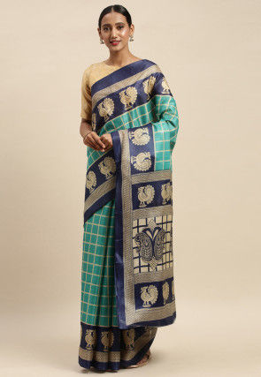 Printed Chanderi Cotton Saree in Teal Blue