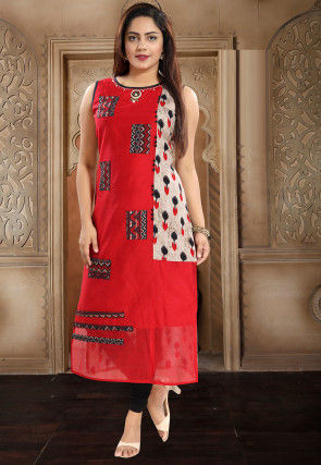 Printed Chanderi Cotton Straight Kurta in Red and Off White