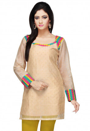 Printed Chanderi Kurti in Beige
