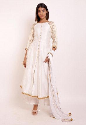 Woven Cotton Silk Pakistani Suit in Off White