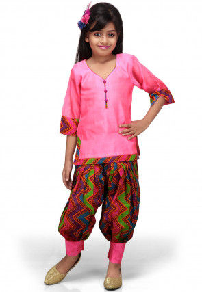 Printed Chanderi Salwar Set in Pink