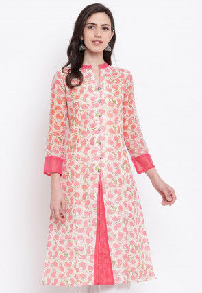 Printed Chanderi Silk A Line Kurta in Off White and Pink