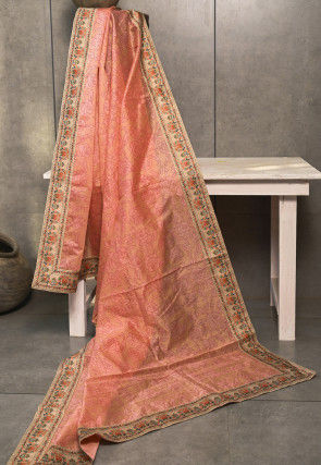 Printed Chanderi Silk Dupatta in Peach