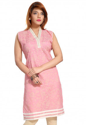 Printed Chanderi Silk Kurti in Pink
