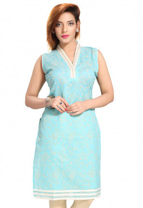 Printed Chanderi Silk Kurti in Sky Blue