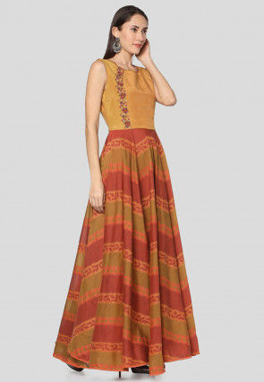 Printed Chanderi Silk Maxi Dress in Olive Green and Rust