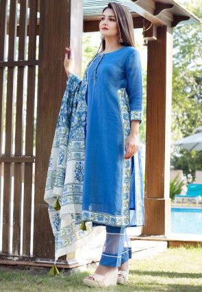 Printed Chanderi Silk Pakistani Suit in Blue