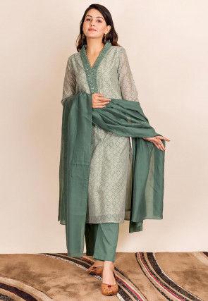 Printed Chanderi Silk Pakistani Suit in Grey