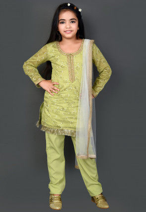 Printed Chanderi Silk Pakistani Suit in Light Green