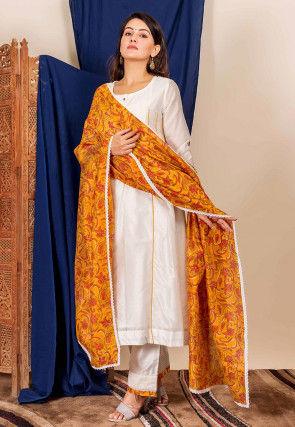 Printed Chanderi Silk Pakistani Suit in Off White