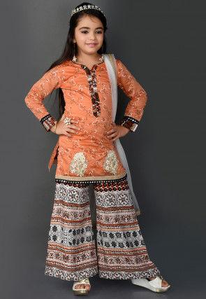 Printed Chanderi Silk Pakistani Suit in Peach