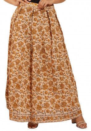 Printed Chanderi Silk Pleated Skirt in Beige