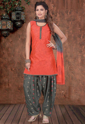 Printed Chanderi Silk Punjabi Suit in Coral Red