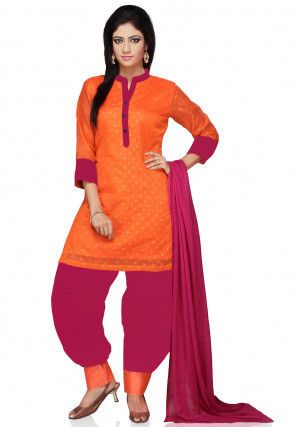 Printed Chanderi Silk Punjabi Suit in Orange