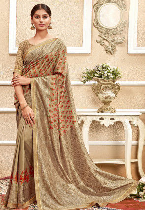 Printed Chanderi Silk Saree in Beige