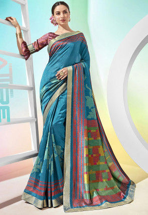 Printed Chanderi Silk Saree in Blue