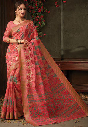 Printed Chanderi Silk Saree in Dark Peach