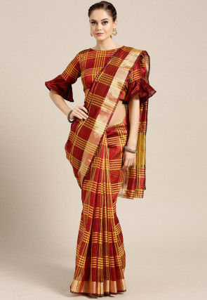 Printed Chanderi Silk Saree in Maroon and Yellow