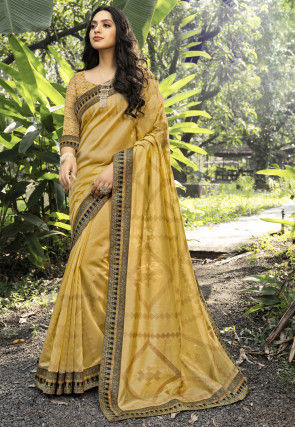 Printed Chanderi Silk Saree in Mustard