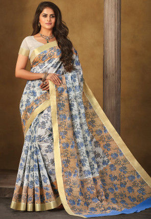 Printed Chanderi Silk Saree in Off White