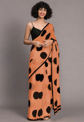 Printed Chanderi Silk Saree in Orange