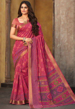 Printed Chanderi Silk Saree in Pink
