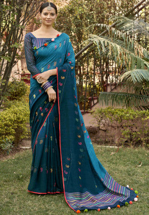Printed Chanderi Silk Saree in Teal Blue Ombre