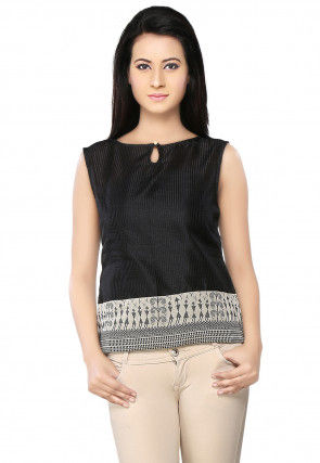 Printed Chanderi Silk Top In Black