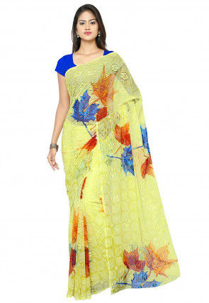 Printed Chantelle Net Saree in Yellow