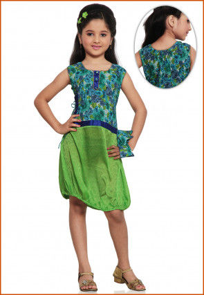 Printed Chiffon and Cotton Dress in Light Green