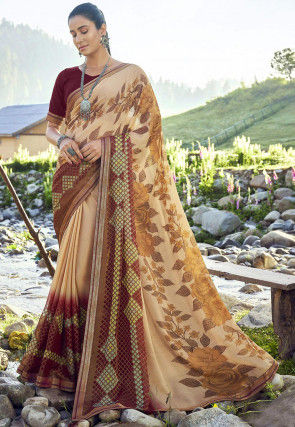 Printed Chiffon Brasso Saree in Beige and Brown