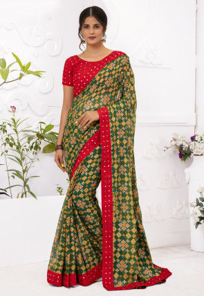 Printed Chiffon Brasso Saree in Green