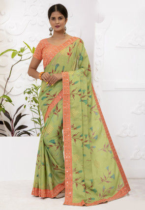 Printed Chiffon Brasso Saree in Light Green