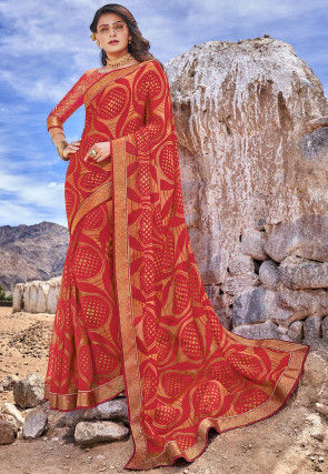 Printed Chiffon Brasso Saree in Red