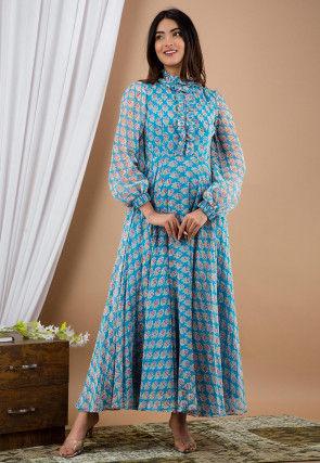 Printed Chiffon Dress in Blue