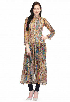 Printed Chiffon Front Slit Straight Kurta in Multicolor