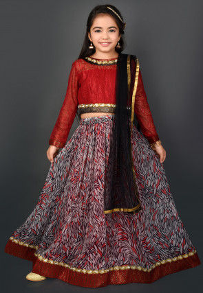 Printed Chiffon Lehenga in Multicolor and Maroon