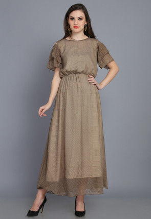 Printed Chiffon Maxi Dress in Brown