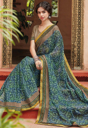 Printed Chiffon Saree in Blue and Green
