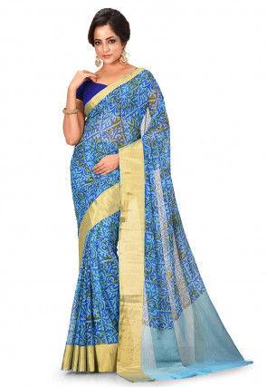 Printed Chiffon Saree in Blue