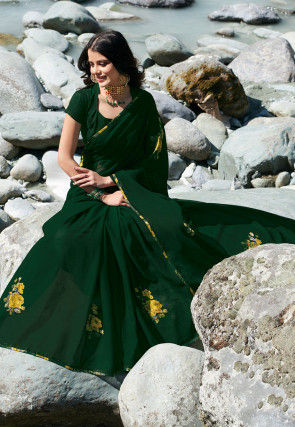 Printed Chiffon Saree in Dark Green